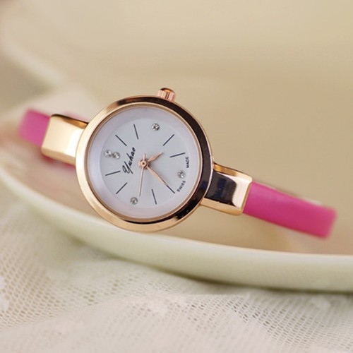 Đồng hồ dây giả da siêu mỏng thanh lịch cho nữ
