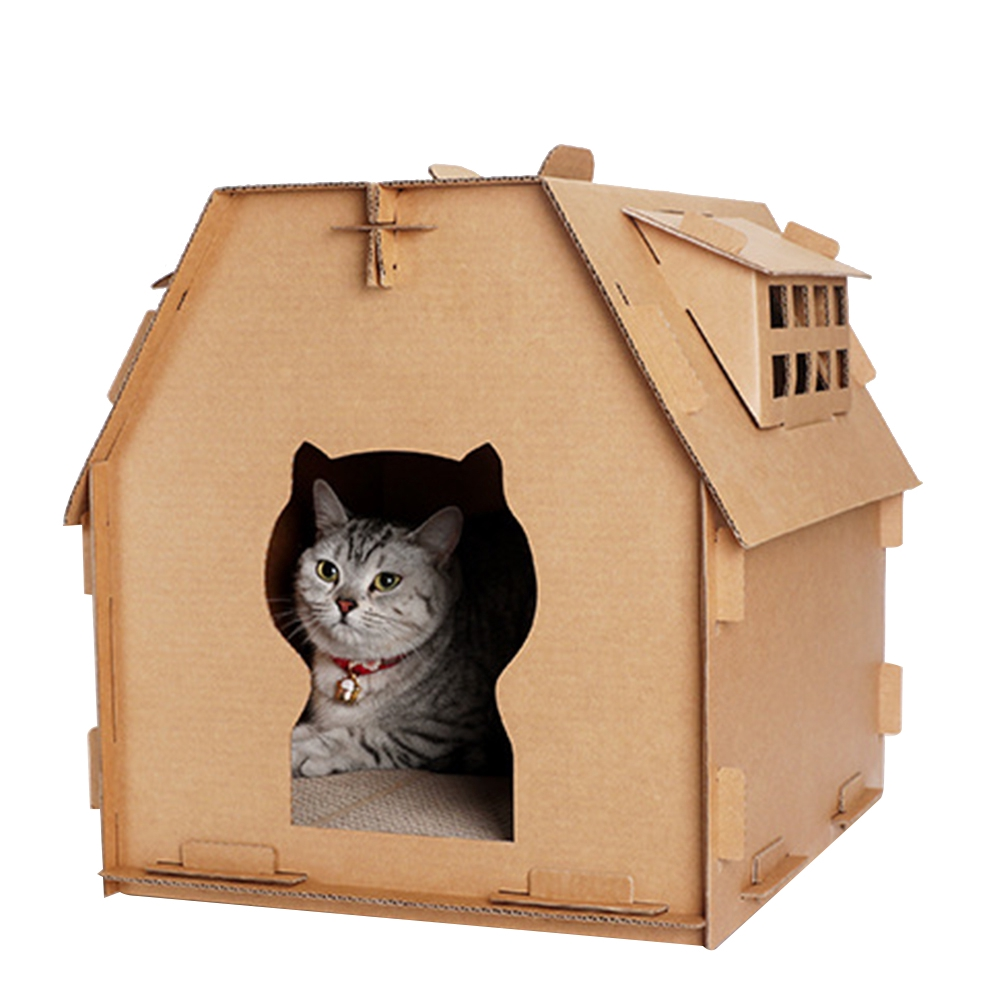 Tools Pet Kitten Corrugated Paper Have Small Window DIY Toys Indoor Self Assembly Cat House