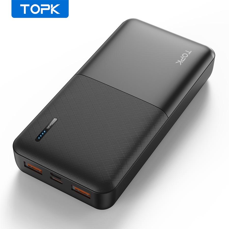 Pin Dự Phòng TOPK I2009Q Sạc Nhanh 2 Cổng USB PD3.0 QC3.0 20000mAh Cho Xiaomi Samsung IPhone