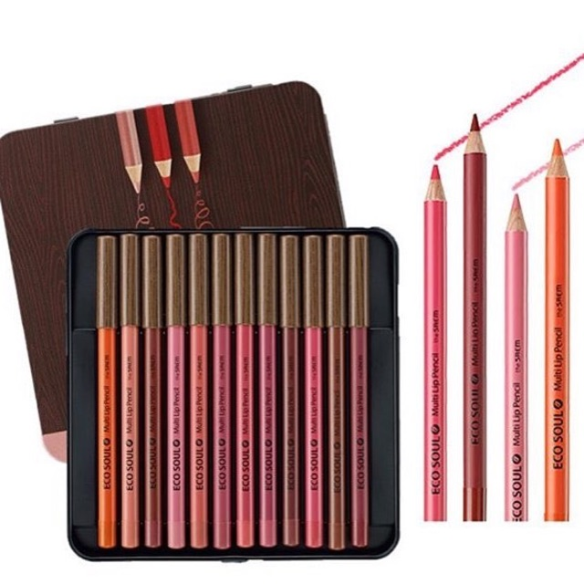 Bộ son bút chì The Saem Eco Soul Multi Pencil Lip Set 12 Son