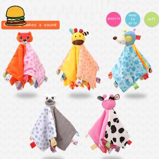 Baby Plush Blanket Towel Soft Square Doll Sleep Toy with Bell