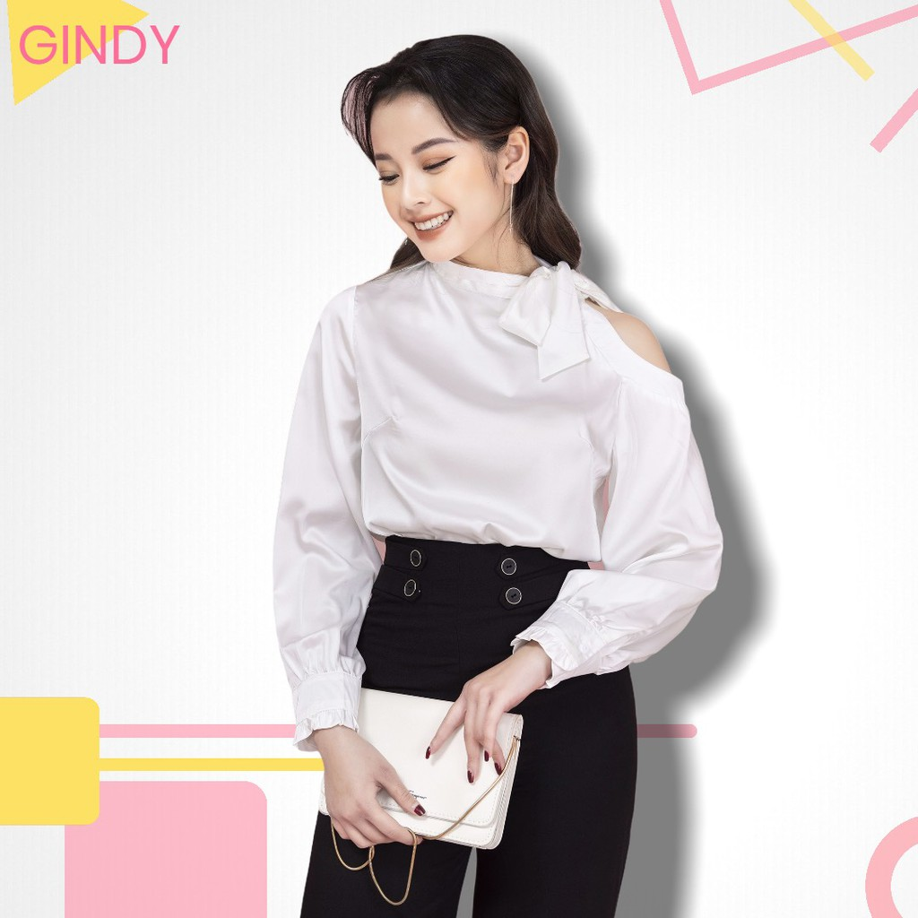 Áo sơ mi GINDY hở vai cổ thắt nơ lệch thời trang chất liệu lụa satin rất nhẹ, mềm mại và thấm mồ hôi tốt