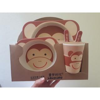 Set khay ăn sợi tre 5 món Khỉ con ( hàng nội địa TQ)