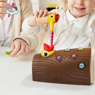 【RYT】Baby Montessori Educational Toys Kids Fishing Game Woodpecker Catching Bugs Wooden Toys