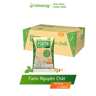 [Mã FMCGMALL – 8% đơn 250K] Thùng sữa đậu nành Fami Nguyên chất cải tiến 2019 (40 bịch x 200ml)