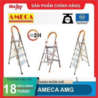 [Hỏa tốc HN] Thang ghế inox AMECA AMG 3, 4, 5 bậc AMG-3IN, AMG-4IN, AMG-5IN, bảo hành chính hãng 18 tháng thumbnail