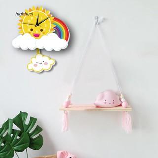 Đồng hồ treo tường hình đám mây màu sắc cầu vồng sáng tạo