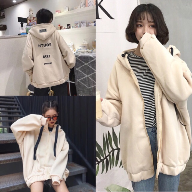 [Có sẵn ] Áo khoác hoodie nỉ Ulzzang+kèm ảnh thật