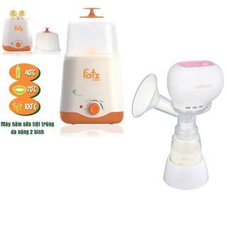 Máy hút sữa điện đơn có pin sạc Kpop Unimom UM871098 và Máy hâm sữa tiệt trùng 2 bình cổ rộng FatzBaby FB3011SL thumbnail