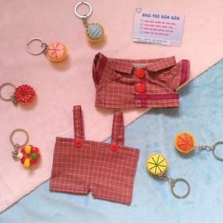 Outfit doll 20cm – Đỏ đậm kẻ ô vuông