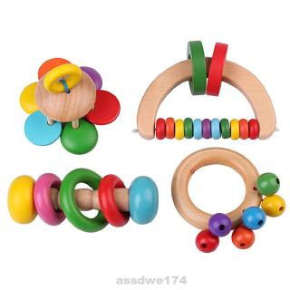 4pcs/set Tools Manual Colorful Durable Portable Play Home Toys Wooden Baby Rattle