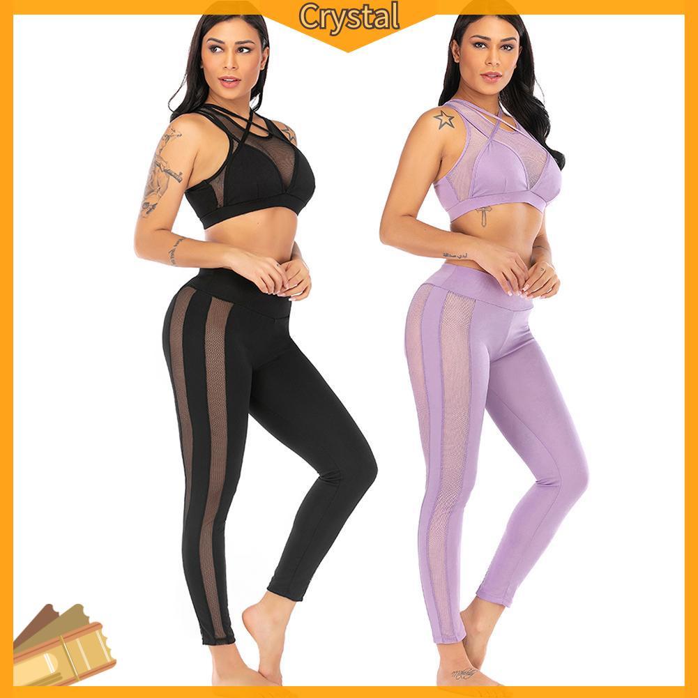 Set Đồ Tập Yoga 2 Món Gồm Áo Dây Chéo + Quần Dài Thể Thao Dành Cho Nữ