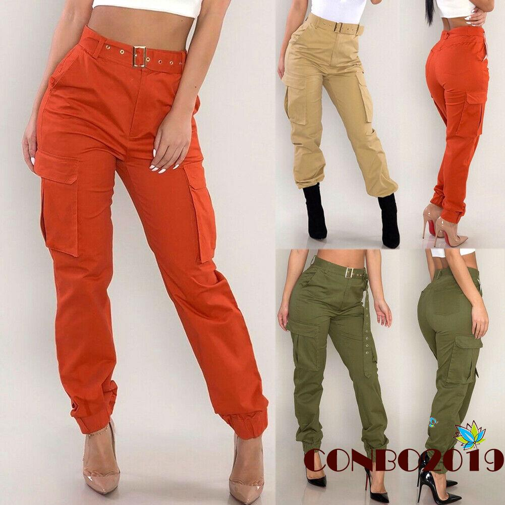 Y&L ❥Women Overalls Pants Army Military Combat Style Pant Cargo Trousers Long Sports Pants Joggers, Khaki/Red/Arm green