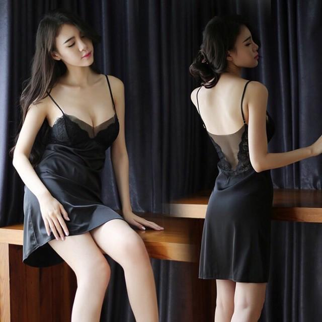 Đầm ngủ lụa phối ren cao cấp L205 / không mút