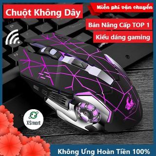 Chuột Không Dây Gaming Wolf X8 LED 7 Màu RGB, Pin Có Thể Sạc Dùng Cực Lâu, Chuột Chơi Game Không Dây thumbnail