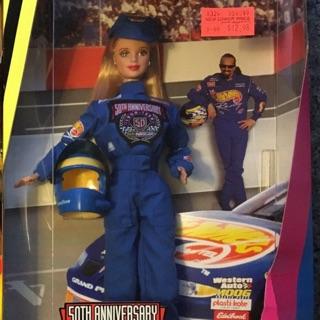 Búp bê barbie đua xe xanh