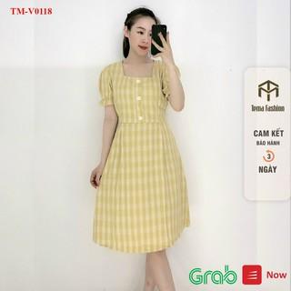 Váy suông nữ TEMA - Váy babydoll nữ chất cotton kẻ caro cổ vuông đính cúc siêu xinh thumbnail