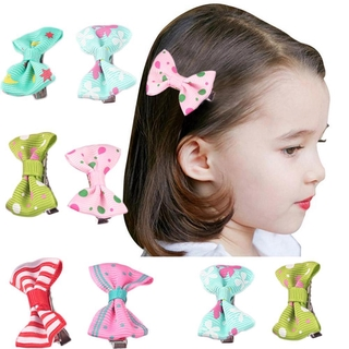 Kẹp tóc mini thiết kế nơ màu trơn họa tiết chấm bi cho bé gái thumbnail