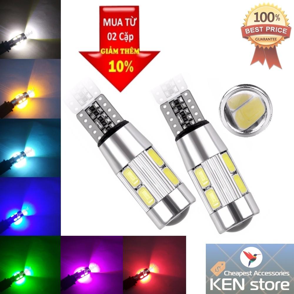 Bóng LED T10 đèn xi nhan, đèn demi xe máy ô tô 10 chip smd