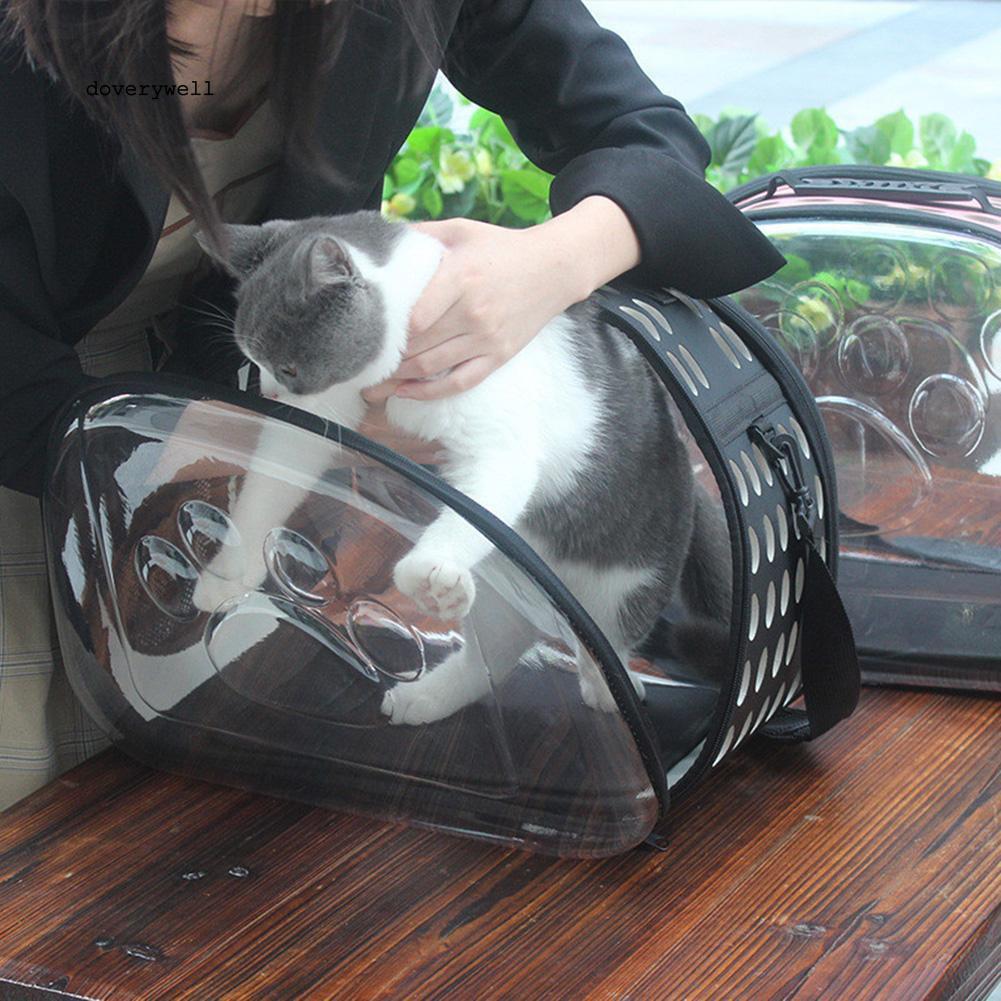 DYL_Foldable Transparent Pet Dog Carrier Puppy Backpack Portable Outdoor Travel Bag