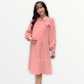 MEDYLA - Đầm bầu, váy bầu dạ tay dài cổ nơ hoa - VS168 thumbnail
