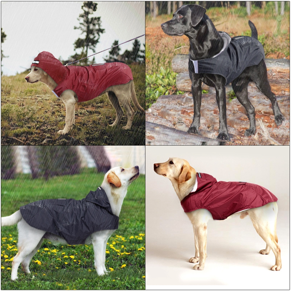Wear Resistant Outdoor Pet Supplies With Hole Durable Hooded Reflective Waterproof Breathable Dog Raincoat