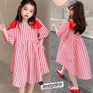 Sweet Baby Girls Red Striped Shoulder Bow Design Puff Dress Fashion Kids Girls Summer Princess Dress