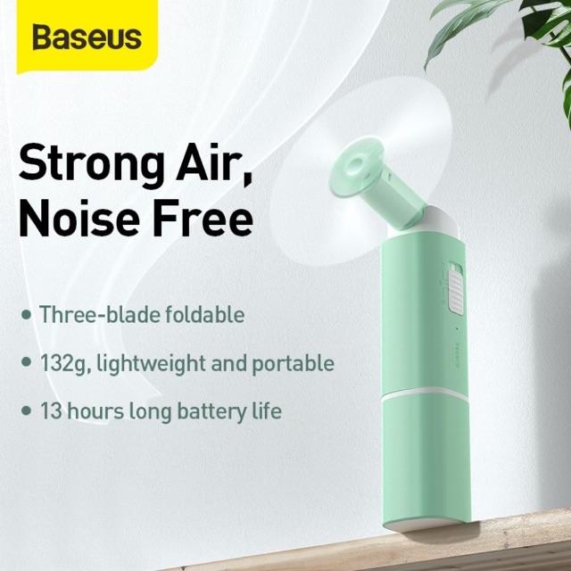 Quạt gấp mini Baseus Square Portable Folding Fan 2 Speed USB Cooler Fan dung lượng 2000mAh