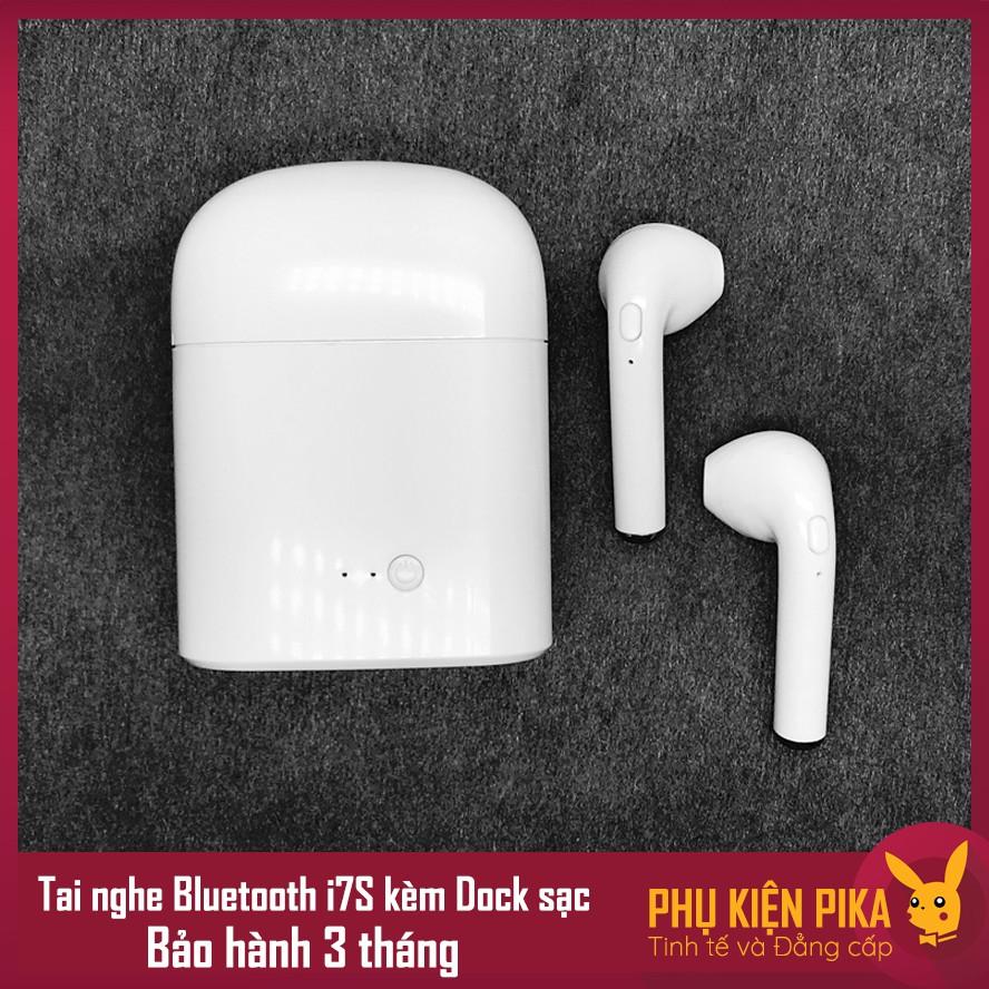 Tai nghe bluetooth không dây 2 bên i7S cho iPhone kèm dock sạc tai nghe