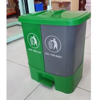 Thùng rác 2 ngăn💙FreeShip💙 Thiết kế phân loại thông minh – 40 LÍT đạp chân