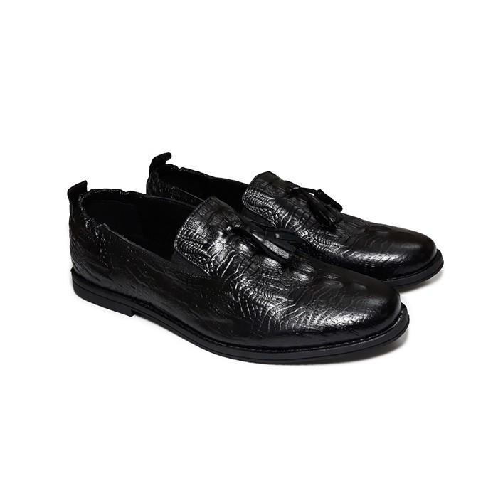 Giày Lười Nam Da Bò Thật - Vân Cá Sấu Cổ Chun Cao Cấp SM18