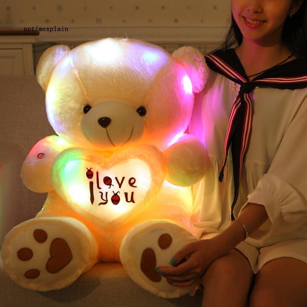 NAME Bluetooth Music Glow at Dark Love Heart Bear Light Plush Doll Toy Throw Pillow
