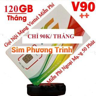 [Free 30 Ngày] Sim 4G Viettel gói V90 mới{V120Z} 120GB/tháng, free gọi nội mạng, 90k/tháng