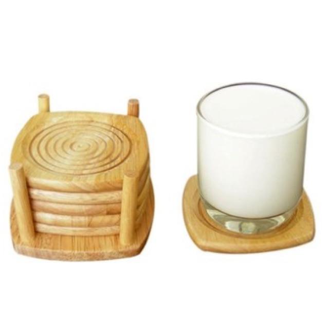 Bộ 6 lót ly gỗ Đức Thành 21171 12 x 10,4 x 6,5 cm (Nâu kem)