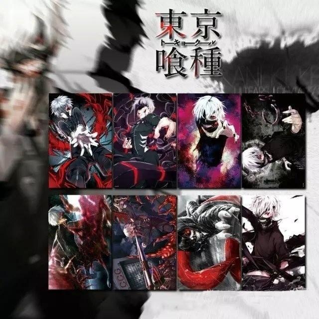 Anime Tokyo Ghoul Kaneki Ken Cosplay 8PCS Posters Print Set
