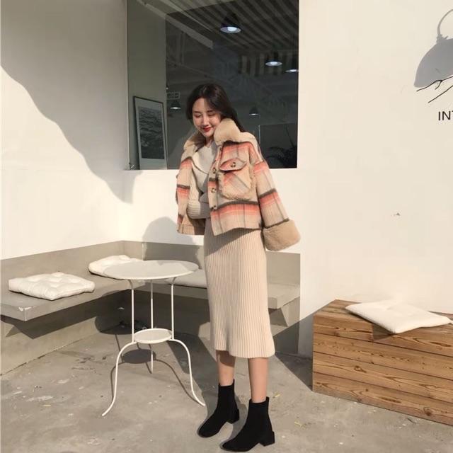 Áo khoác dạ cổ lông sành điệu QCCC