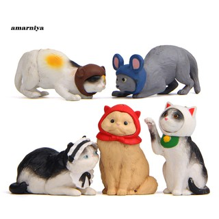 AY-ᴥ5Pcs Cats Kitten Cosplay Mouse Miniature Figurine Models DIY Doll House Pet Toy
