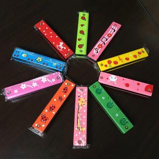 [HO&OFF] 1 X Wooden Painted Harmonica Kids Children Musical Instrument Gift Color Random