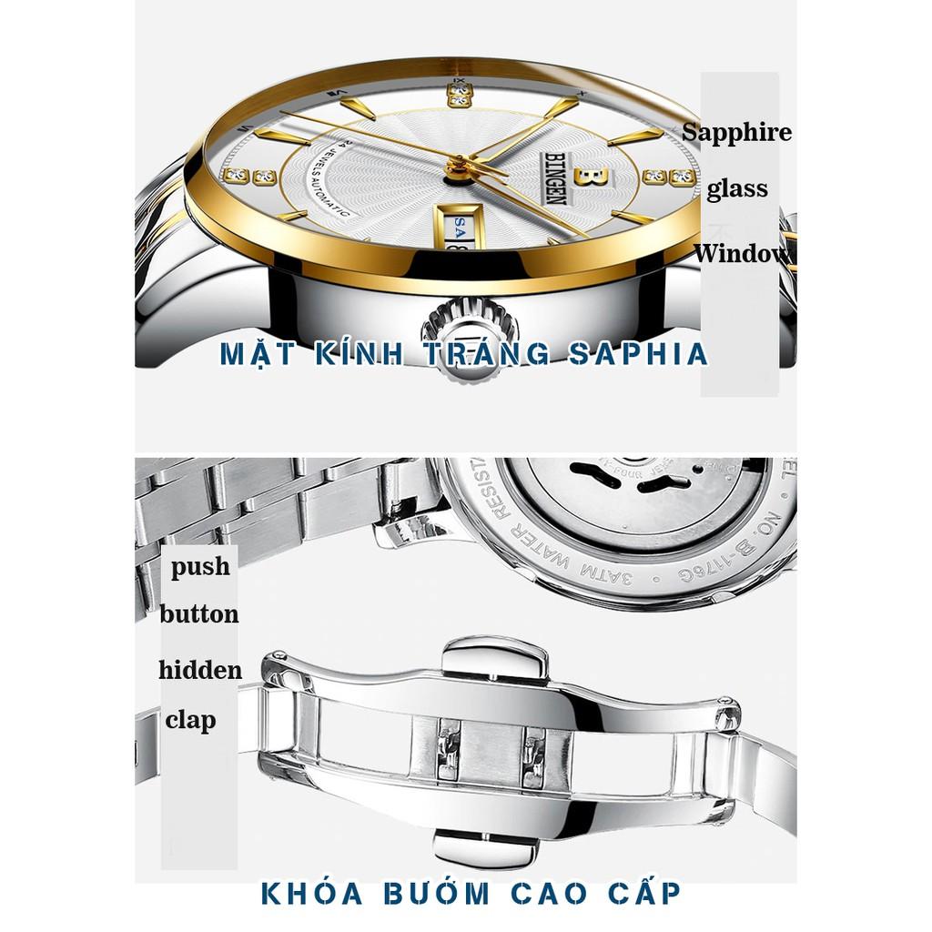 Đồng hồ Nam BINGEN Kính Tráng SAPPHIRE – Dây Thép Đúc Đặt & Khóa Bướm - Thương Hiệu Cao Cấp Của ĐỨC