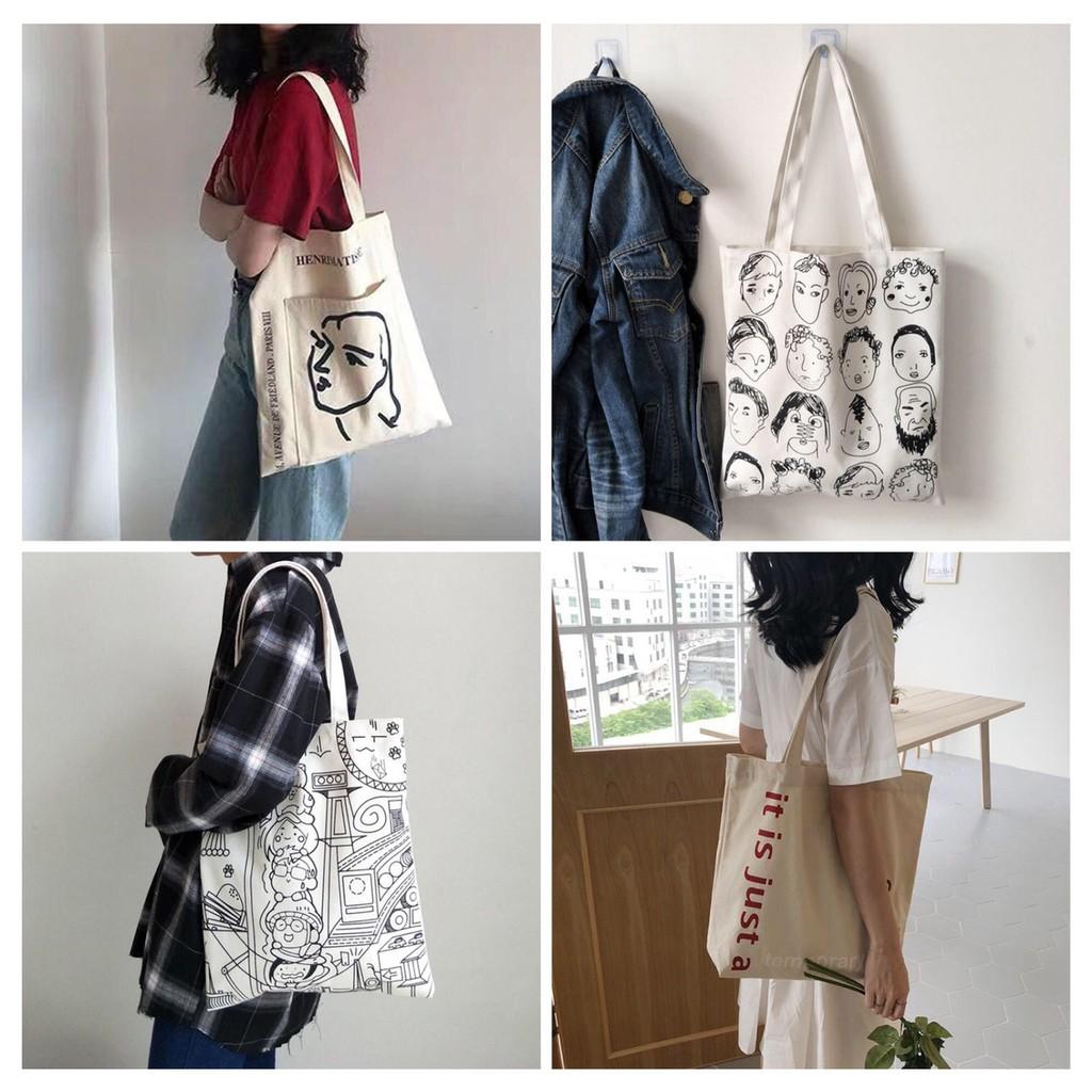 Túi tote vải bố đựng đồ canvas đeo vai Hazin thời trang vải bố loại tốt cho nữ cực hót,đi học,đi làm HZ48