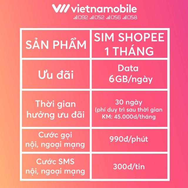 [Mã ELMALLMT giảm 8% đơn 900K][Miễn Phí 1 Tháng] Sim Data 6GB/ngày - 180 GB/tháng Độc Quyền VIETNAMOBILE - SHOPEE