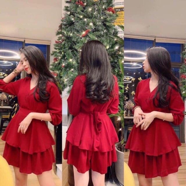 Đầm đỏ 2 tầng mặc Noel