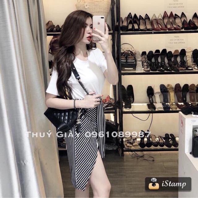 Sét áo thun + chân váy sọc 2 màu