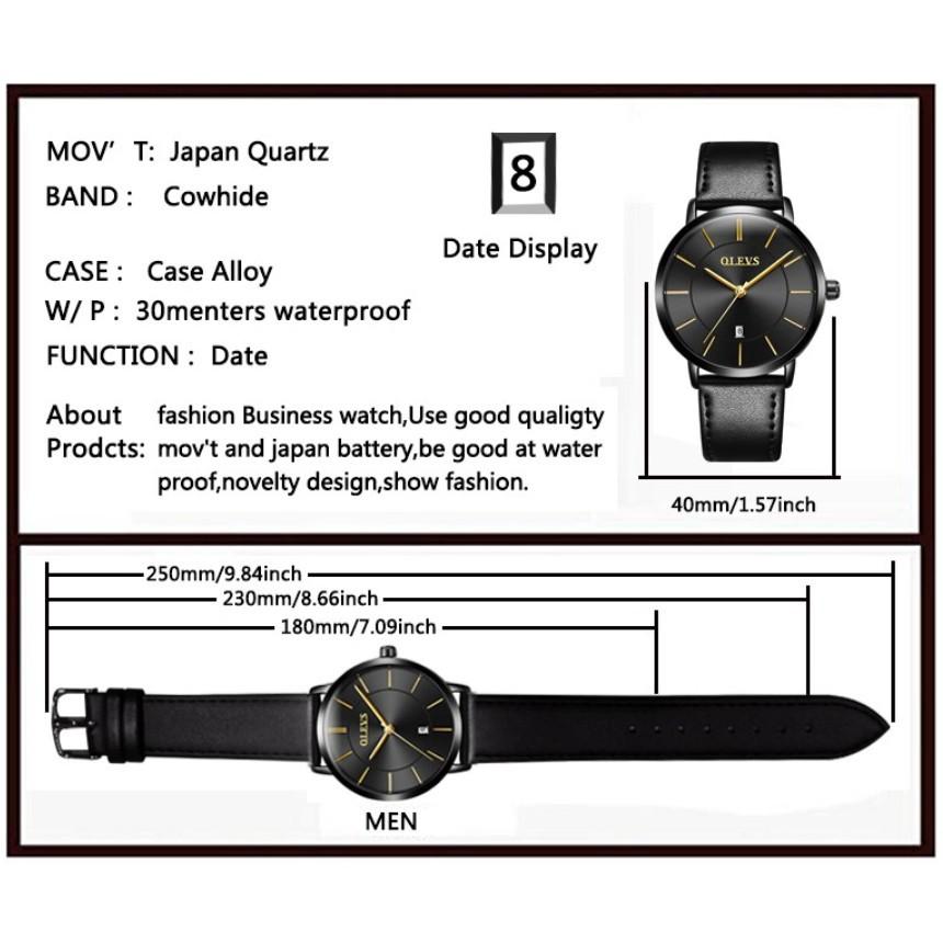 Giảm giá 70% Đồng hồ đeo tay nam siêu mỏng không thấm nước cặp đôi quartz siêu mỏng OLEVS,M3 (man) Giá gốc 430.000đ-7F12