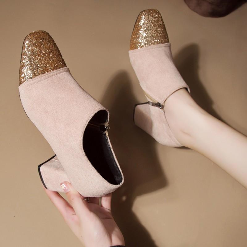 【จัดส่งฟรี】ใบไม้ร่วง 2019 หัวตารางใหม่หนากับรองเท้าหญิงป่ารองเท้าผู้หญิงปากลึกเก๋