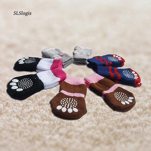 SLSS_4 Pcs Fashion Cute Puppy Dog Pet Knits Socks Anti Slip Skid Bottom Mini Sock
