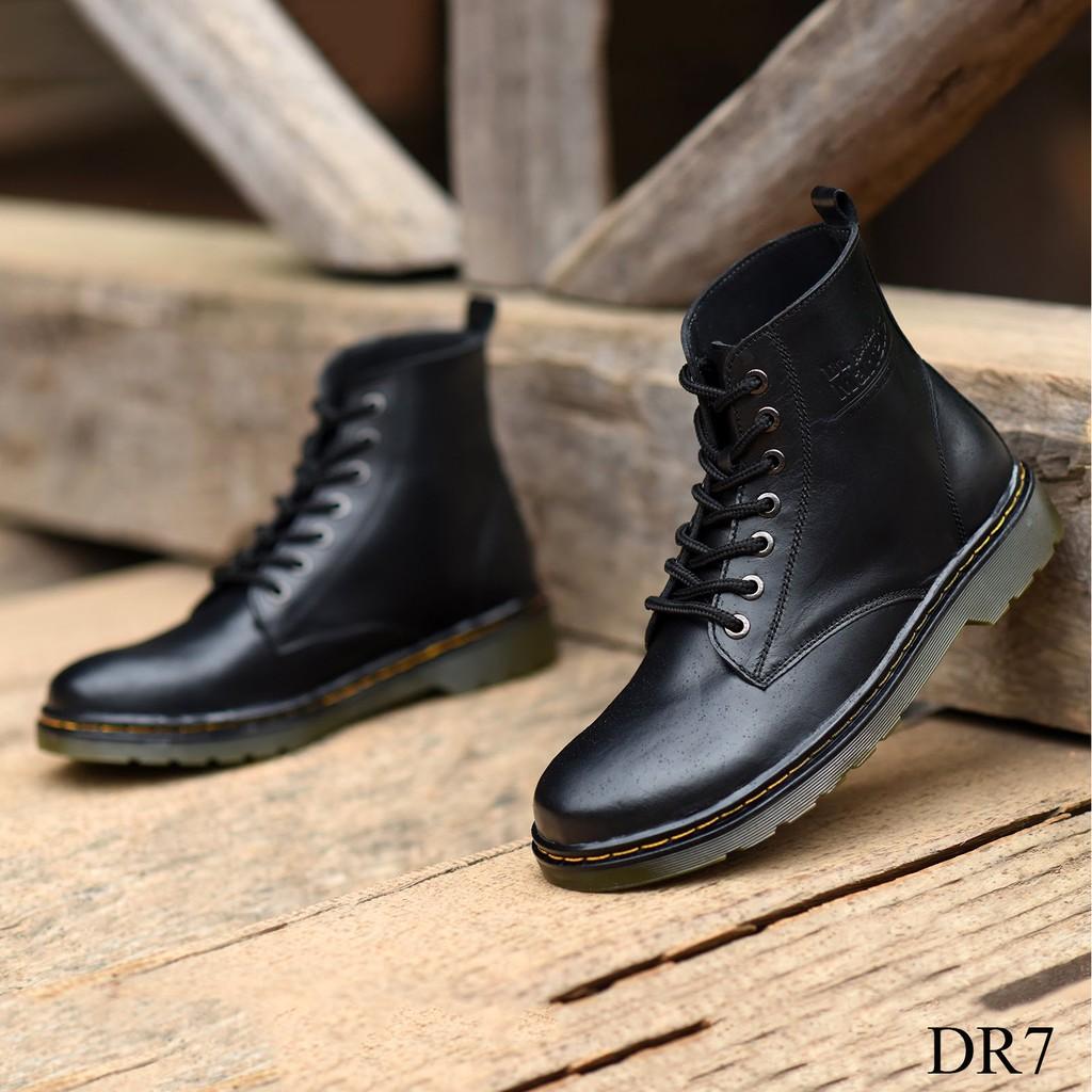 Giày Dr Cao Cổ, 2 mầu mới Dr7 Đen Trơn và Đen Nhám Dr8 buộc dây khỏe khoắn