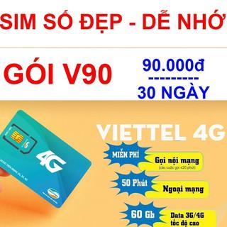 Sim số đẹp Viettel v90 4G nghe gọi lên mạng miễn phí