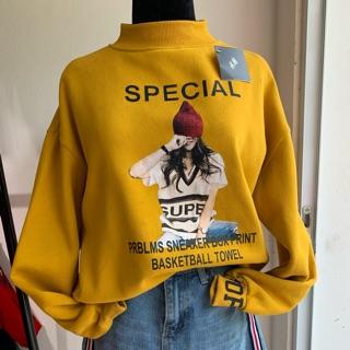 Áo hoodie nỉ bông in hình cô gái thumbnail