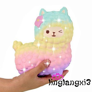 G.I-Jumbo Squishy Slow Rising Rainbow Alpaca Mochi Squeeze Toy Pressure Relief